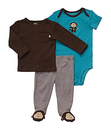Carter�s Newborn Striped 3-Piece Footed Cardigan Set