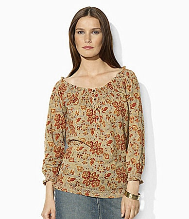 Lauren Jeans Co. Floral Smocked Top