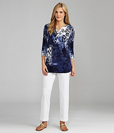 TanJay Notched V-Neck Printed Tunic & Comfort Stretch Waist Pants