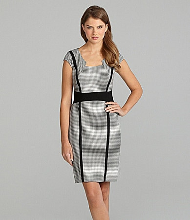 Tahari Houndstooth Colorblock Dress