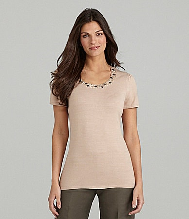 Alex Marie Amira Beaded Knit Top
