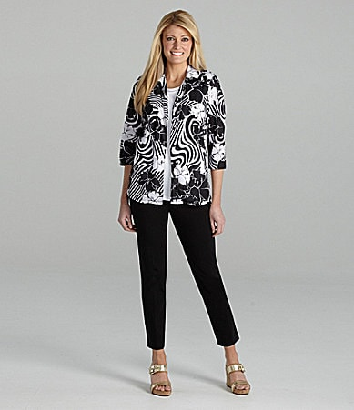 Allison Daley Floral-Print Blouse, Crewneck Tank & Pull-On Pants