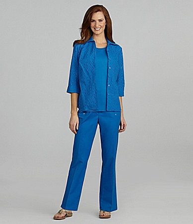 Allison Daley Eyelet Button Front Blouse, Crewneck Tank & Pull-On Pants