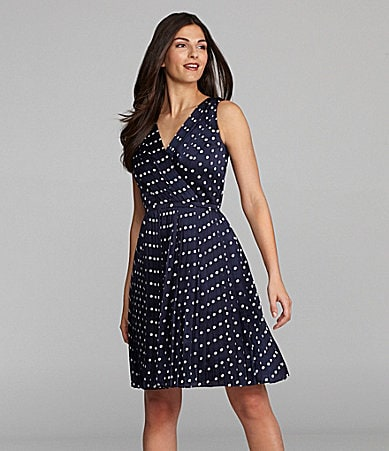 Alex Marie Irina Polka-Dot Chiffon Dress
