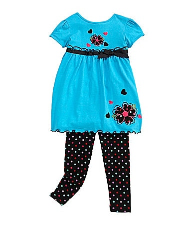 Copper Key 2T-6X Flower Pattern Top & Leggings Set