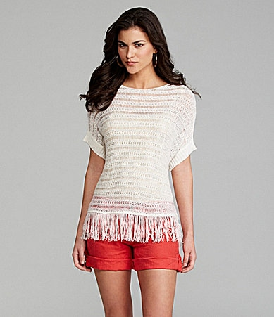 Gianni Bini Carol Fringe-Hem Top & Dolly Roll-Cuff Shorts
