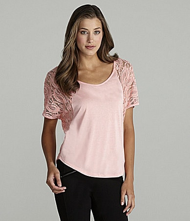 Copper Key Metallic Lace-Back Tee