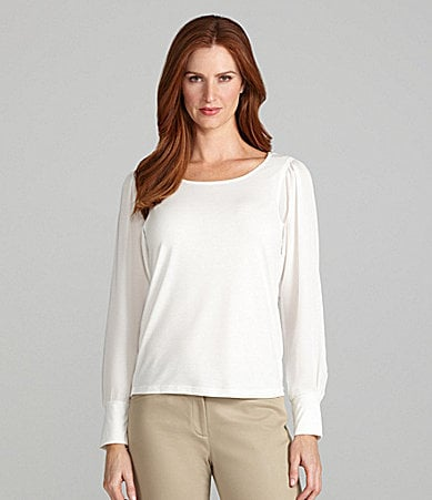 Peter Nygard Woman Dolman-Sleeve Scoopneck Top
