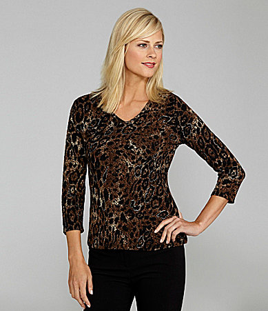 Peter Nygard Petites Cheetah V-Neck Top