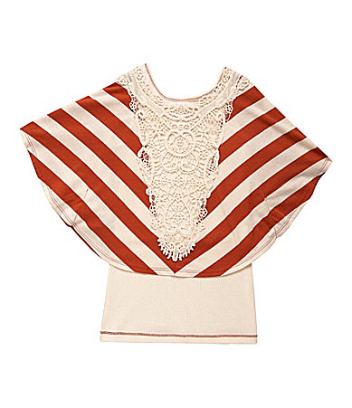 Copper Key 7-16 Mitered Stripe Popover Top