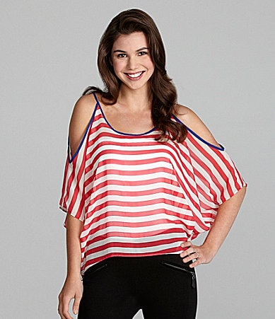 Soprano Cold-Shoulder Striped Top