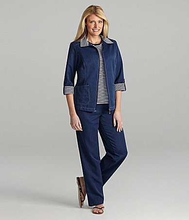 Allison Daley Trimmed Zip-Front Jacket, Striped Knit Top & Heathered Pull-On Pants