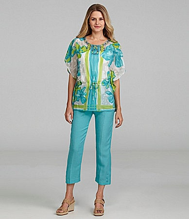Sharon Young Print Dobby Poncho Top & Tie-Belt Capri Pants