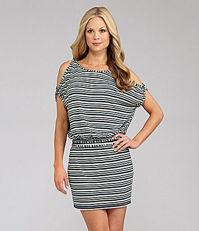 M.S.S.P. Cold Shoulder Striped Jersey Dress
