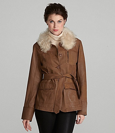 UGG Australia Alexandria Fur-Collar Leather Jacket