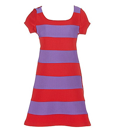 2 Hip by Wrapper 7-16 Striped Ottoman Dress