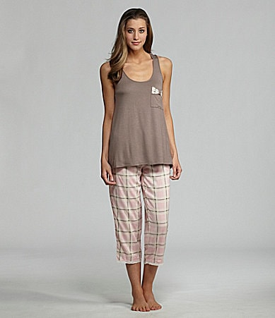 Kensie Macarons and Dreams Racer Back Tank & Woven Plaid Capris
