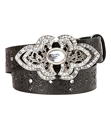 Miss Me Girls Embossed Leather Belt with Rhinestone Buckle