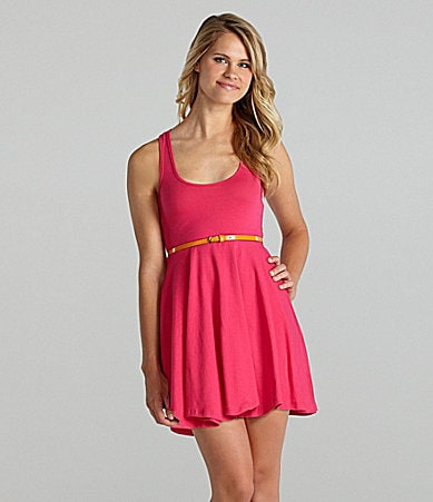 Living Doll Belted Racerback Dress