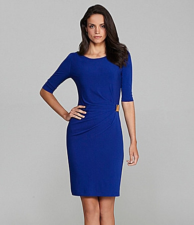 Tahari by ASL Matte Jersey Ruched-Side Dress