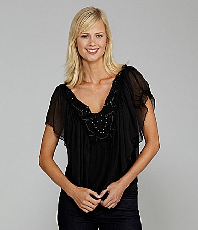 One World Apparel Crochet-Trim Flutter-Sleeve Cape Top