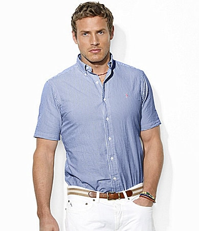 Polo Ralph Lauren Classic-Fit Short-Sleeved Striped Seersucker Cotton Shirt