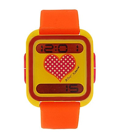 Betsey Johnson Lots �n� Lots of Time Orange Digital Watch