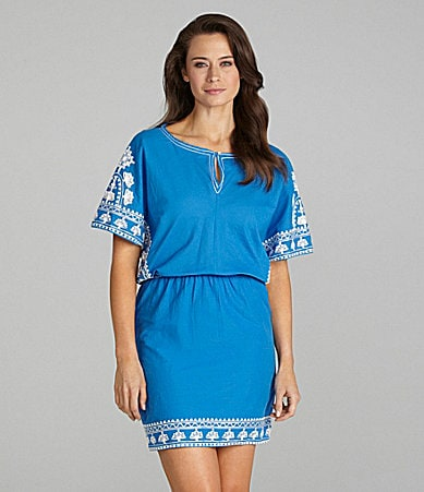 Nurture Dolman-Sleeve Border Print Dress
