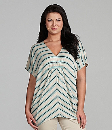 M.S.S.P. Woman Striped Jersey Poncho Top