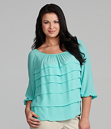 M.S.S.P. Woman Tiered Chiffon Blouse