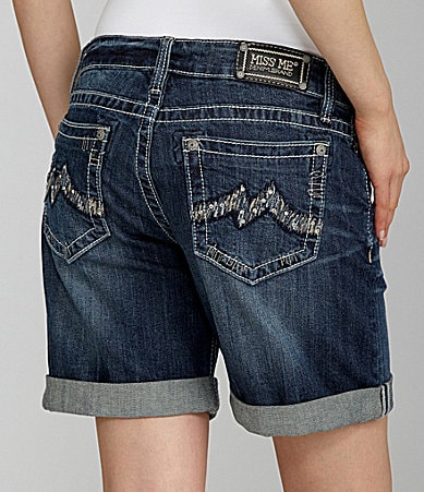 Miss Me Jeans Embroidered-Pocket Cuff Denim Shorts