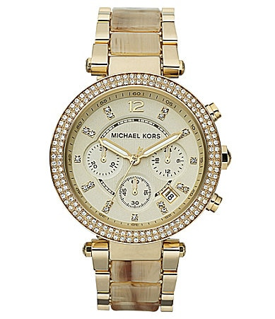 Michael Kors Parker Gold and Horn Chronograph Glitz Watch