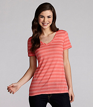 Copper Key Striped V-Neck Tee
