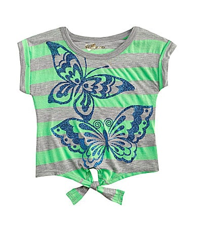 Copper Key 4-6X Striped Butterfly Tie Front Top