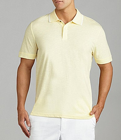 Perry Ellis Contrast Collar Slub Polo Shirt