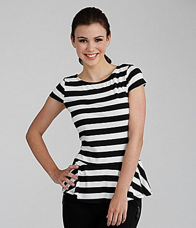 Rampage Striped Peplum Top