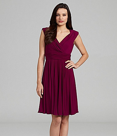 Suzi Chin Surplice V-Neck Pleated Dress