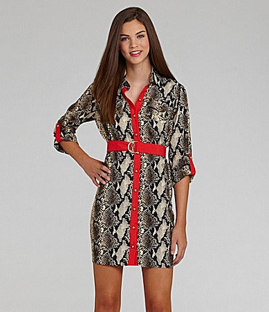 Rampage Printed Shirt Dress