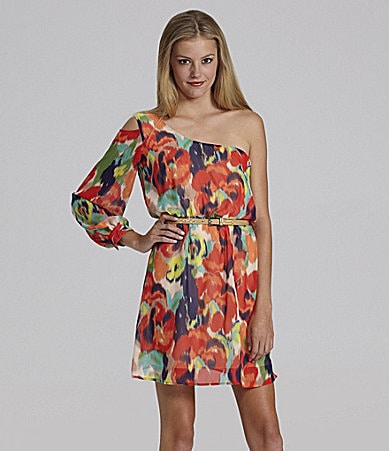 GB One-Shoulder Printed Dress