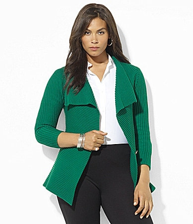 Lauren Ralph Lauren Woman Cotton Draped Cardigan