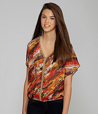 Takara Butterfly Sleeve Printed Top