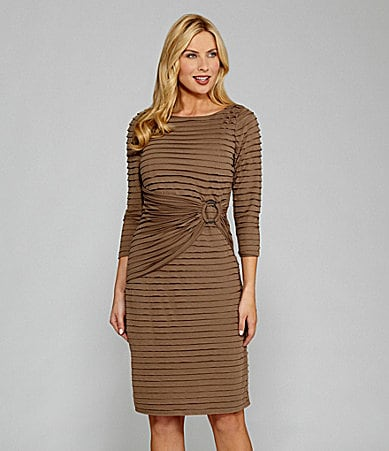 London Times  Petites 3/4-Sleeve Tiered Dress