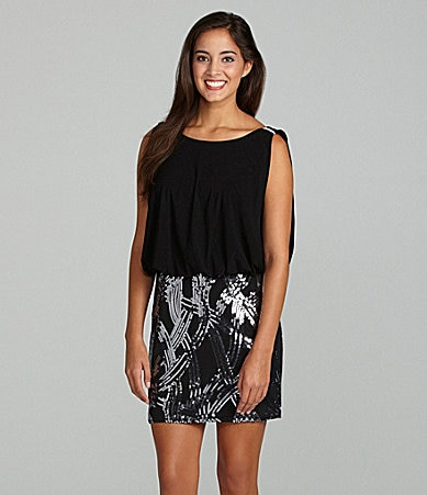 Blondie Nites Sequin Skirt Dress