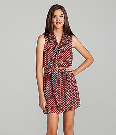 As U Wish Belted Tie-Front Dress