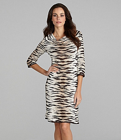 Ming Wang Animal-Print Knit Dress
