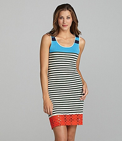 Kensie Striped Crochet-Hem Dress