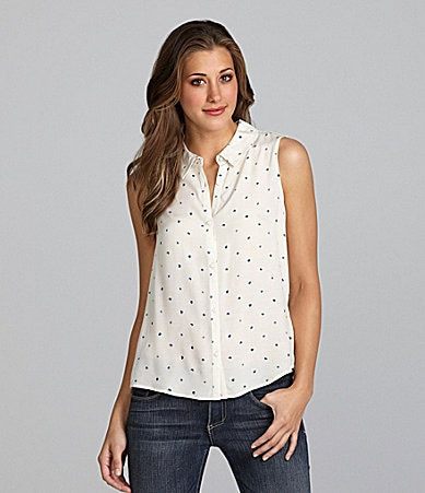 Kensie Sleeveless Dot-Print Top