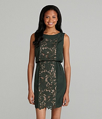 Jessica Simpson Woman Boat Neck Lace Dress
