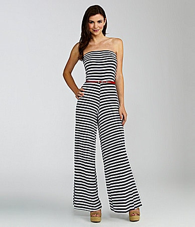 Moa Moa Strapless Striped Jumpsuit