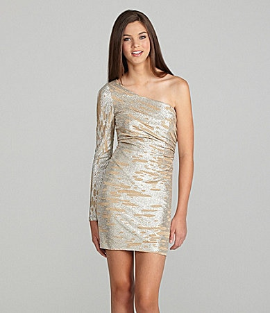Hailey Logan One-Shoulder Metallic Dress